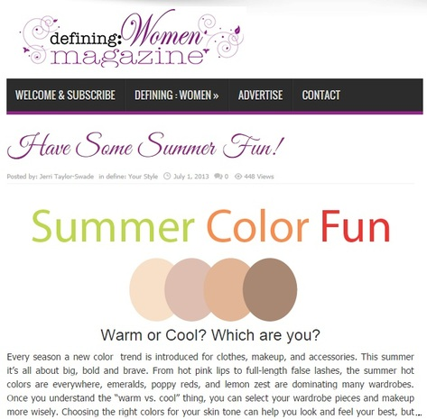 Jeri Taylor-Swade featured writer in defining: Women Magazine Summer color fun